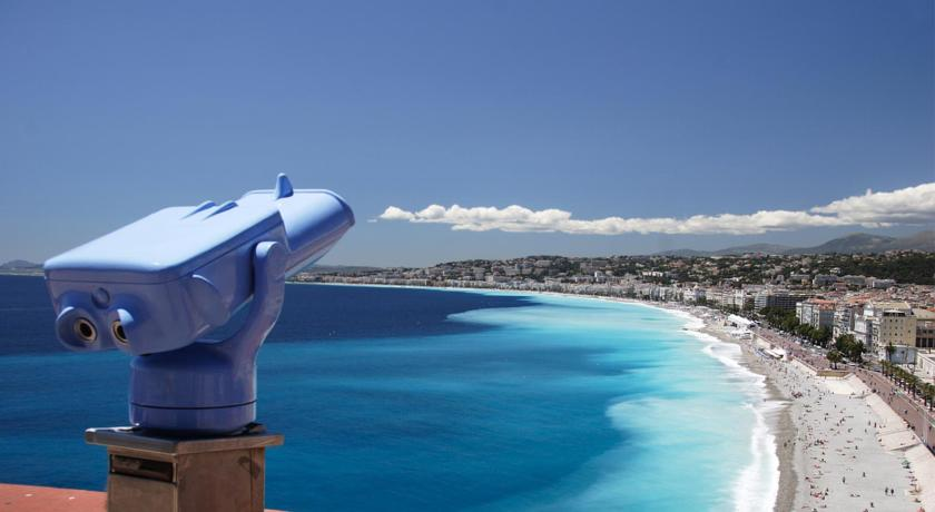 Nice promenade des anglais, Nice old town, upper hill of the castle